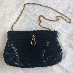 Vintage Lumured Black Mesh Bag   D125